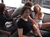 Cute girl sucks dick in a crowded bus