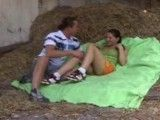 Having sex in a dirty hay stack these two teens dont care where t