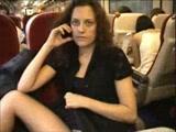 Girl flashing in the train
