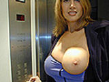 Thin red head with huge tits gets rocked doggy style