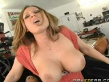 BIG TITTED milf riding on a fat cock