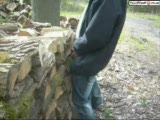 GUy fucks wooden hole before his girlfriend