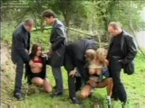 Crazy outdoor gang bang
