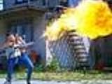 Veronica Zemanova Firing Flamethrower
