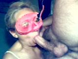 Masked wifey sucking dick