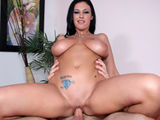 Busty bitch gets her super size titties covered with cum