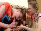 3 young girls get blowjob lesson