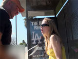 Bus stop bitch gets a massive facial