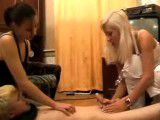 Blonde guy abused by two horny girls