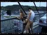 Naughty couple fucking on a public bridge