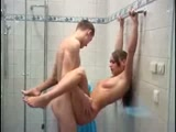 Teen couple fucking under the shower