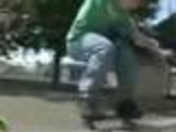 Skater breaking his nuts by a stunt