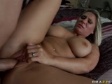 Busty babe taking a dick in her cunt