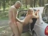 Busty blonde gets assfucked in the forrest