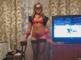 Masked hottie gives great head