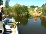 Fisherman casually passes young couple fucking