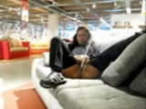 Nasty skank pisses all over couch in store.