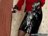 Glamorous Brunette Loves Getting Plastered In Bukkake