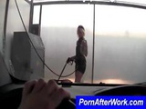 Beautiful Blonde Takes Hold Of A Power Spray And Sexily Washes A Car