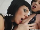 Two Lesbians On Couch Testing Anal