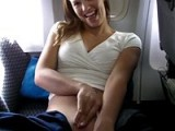 Hot girlfriend masturbates on a crowded airplane