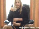Frail young cutie fucked on boss chair
