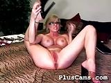 Hot blond enjoying multiple dildo in her pussy
