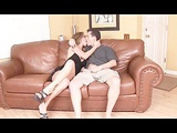 Hot babe fucked on couch