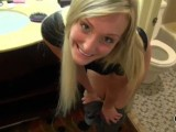 Blonde GF fucked from behind in bathroom