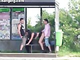 Extreme public big boobs young teen pretty girl group sex dogging gang bang threesome at a bus stop