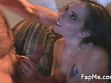 Horny slut stroking a cock so hard