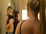 Naughty girl blows boyfriend in dressing room