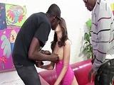 Cute Brunette Gangbanged by Black Dicks