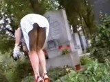 Pervert Guy Records Lady Upskirt On The Cemetery