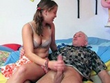 Grandpa Got A Handjob From Teen Girl