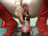 Drunk Amateur Chick Rides Beer Bottle