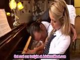 Pretty blonde Regina Ice on piano forte