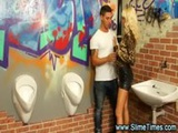 Glamorous couple having blowjob in restroom