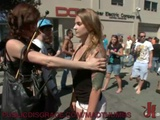Cute Tattooed Girl Publicly Flogged And Fucked At The Street