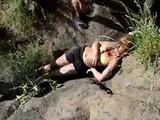 Cute bikini girl gets knocked out in crazy BMX crash