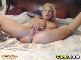 Blonde Hottie With Huge Tits Masturbates With Toy