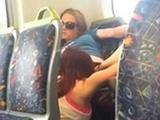 Shameless lesbians caught eating pussy on the bus