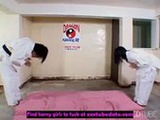 Hot Asian dojo work out