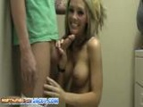 Foxy Jacky Gives Blowjob In The Laundry Room