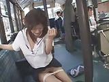Public bukkake in a bus