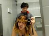 Emo couple fucking in public bathroom