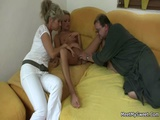 GF Rides Her BF Dads Cock