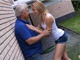 Young blonde seduce old grandpa