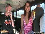 Gigi Larios Taking The Money For An Interview On The Bangbus