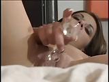 horny brunette dildoing her pussy